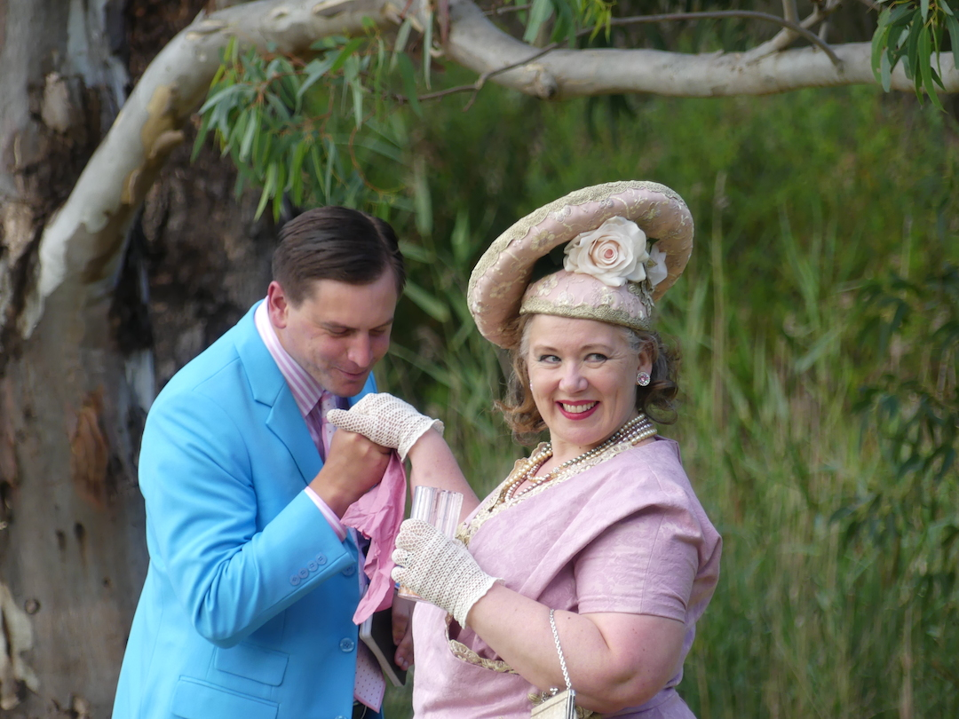 Joshua Coldwell as Benjamin Backbite and Angela Short as Mrs Candour