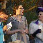 Joshua Coldwell as Backbite, Miriam Keane as Snake and Nicole Rutty as Lady Sneerwell